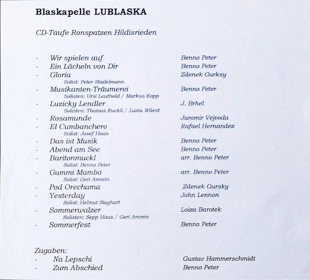 Lublaska Konzertprogramm